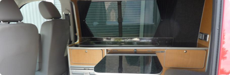 Kitchenette area of a converted VW T5